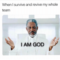Crazy, God, and Memes: When I survive and revive my whole  team  I AM GOD follow @puberty for crazy transformations😛