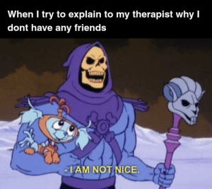 Friends, Nice, and Why: When I try to explain to my therapist why I  dont have any friends  IAM NOT NICE