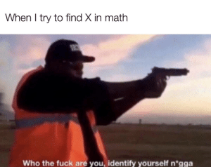 Wait a minute, who are you?: When I try to find X in math  Who the fuck are you, identify yourself n*gga Wait a minute, who are you?