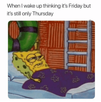 Friday, It's Friday, and Memes: When I wake up thinking it's Friday but  it's still only Thursday  3 Whyyy does this always happen? ( @ffs.memes )