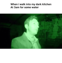 Funny, Water, and Dark: When i walk into my dark kitchen  At 3am for some water 😂💯 👉🏽(via: @buzzfeedunsolved)