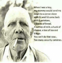 security cameras: When I was a boy,  my momma would send me  down to a corner store  with $1 and I'd come back  with 5 potatoes,  2 loaves of bread,  3 bottles of milk, a hunk of  cheese, a box of tea and  6 eggs  You can't do that now.  Too many security cameras.