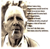 security cameras: When I was a boy,  my momma would send me  down to a corner store  with $1 and I'd come back  with 5potatoes,  2 loaves of bread  3 bottles of milk, a hunk of  cheese, a box of tea and  6eggs.  You can't do that now  Too many security cameras.