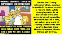 The Simpsons: WHEN I WAS GROWING UP,I THOUGHT THE  SIMPSONS WERE LOWER-MIDDLE CLASS  Under the Trump  administration, median  household income has hit  a record high, while  unemployment is at  historical lows and  poverty has dropped for  the third year in a row,  but when you work at  Occupy Democrats and  you're dumber than  Homer Simpson, those  things get by you.  NOW ITHINK ANYONE WITH A SUBURBAN  HOUSE, GARAGE, 3 KIDS, 2 PETS, AND A  STAY-AT-HOME WIFE MUST BE LOADED.  OCCUPY DEMOCRAT