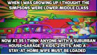 Growing Up, The Simpsons, and Pets: WHEN I WAS GROWING UP ITHOUGHT THE  SIMPSONS WERE LOWER-MIDDLE CLASS  NOW AT 35 I THINK ANYONE WITHA SUBURBAN  HOUSE+GARAGE,3 KIDS2 PETS AND A  STAY-AT-HOME WIFE MUST BE LOADED The Simpsons: How times have changed.