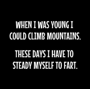 Memes, 🤖, and Fart: WHEN I WAS YOUNG !  COULD CLIMB MOUNTAINS  THESE DAYSI HAVE TO  STEADY MYSELF TO FART