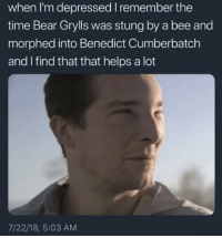 "<p>Into the wild hardcore via /r/memes <a href=""https://ift.tt/2mQjF7A"">https://ift.tt/2mQjF7A</a></p>: when I'm depressed I remember the  time Bear Grylls was stung by a bee and  morphed into Benedict Cumberbatch  and I find that that helps a lot  7/22/18, 5:03 AM <p>Into the wild hardcore via /r/memes <a href=""https://ift.tt/2mQjF7A"">https://ift.tt/2mQjF7A</a></p>"