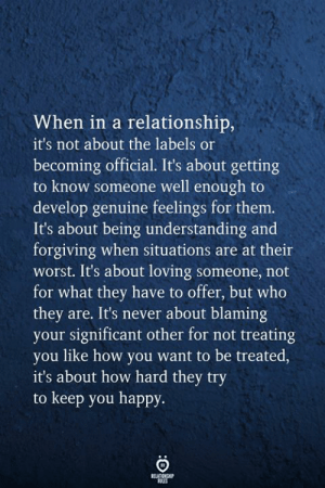 Happy, In a Relationship, and Never: When in a relationship,  it's not about the labels or  becoming official. It's about getting  to know someone well enough to  develop genuine feelings for them.  It's about being understanding and  forgiving when situations are at their  worst. It's about loving someone, not  for what they have to offer, but who  they are. It's never about blaming  your significant other for not treating  you like how you want to be treated,  it's about how hard they try  to keep you happy  RELATIONSHIP