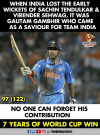 Lost, World Cup, and India: WHEN INDIA LOST THE EARLY  WICKETS OF SACHIN TENDULKAR &  VIRENDER SEHWAG, IT WAS  GAUTAM GAMBHIR WHO CAME  AS A SAVIOUR FOR TEAM INDIA  AUGHING  97 (122)  NO ONE CAN FORGET HIS  CONTRIBUTION  7 YEARS OF WORLD CUP WIN  flaughingcolours #GautamGambhir #ICCCricketWorldCup