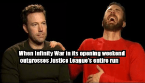 Run, China, and Infinity: When Infinity War in its opening weekend  outgrosses Justice League's entire run $630 million worldwide in 3 days, and Infinity War has yet to open in China