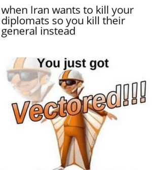 Vectored indeed: when Iran wants to kill your  diplomats so you kill their  general instead  You just got  Vectored!! Vectored indeed