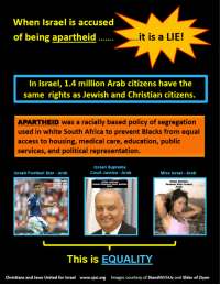 """Africa, Football, and Supreme: When Israel is accused  of being apartheid  it is a LIE!  In Israel, 1.4 million Arab citizens have the  same rights as Jewish and Christian citizens.  APARTHEID was a racially based policy of segregation  used in white South Africa to prevent Blacks from equal  access to housing, medical care, education, public  services, and political representation.  Israeli Supreme  Court Justice Arab  Israeli Football Star -Arab  Miss Israel -Arab  This is EQUALITY  Christians and Jews United for Israel www.cjui.org Images courtesy of StandWithUs and Elder of Ziyon <p><a href=""""http://blog.eretzyisrael.org/post/104893813181/apartheid-refers-to-the-system-created-by-a"""" class=""""tumblr_blog"""">eretzyisrael</a>:</p>  <blockquote><p>""""Apartheid"""" refers to the system created by a white, Afrikaaner minority government in which """"non-white"""" residents of that nation were denied citizenship and basic civil rights, and were forced to live in separate residential areas with segregated and inferior educational and medical services.</p> <p>Those wishing to demonize and destroy Israel now falsely call it """"an Apartheid state.""""</p> <p>But the only true Apartheid states in the Middle East are the Arab states in which Jews are not allowed to live and where Christians, Baha'is and other religious minorities are objects of discrimination and persecution.</p> <p>There are 1.4 million Arabs living in Israel with civil rights that are the envy of the Arab world. Israeli Arabs vote in Israel's elections, have representatives in the Israeli Parliament, sit on Israeli courts and on the Israeli Supreme Court, and serve as tenured professors teaching in Israeli colleges and universities. The Arab citizens of Israel have more rights, and enjoy more freedom, education, and economic opportunity than the inhabitants of any Arab state.</p></blockquote>"""