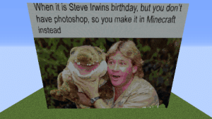 Birthday, Minecraft, and Photoshop: When it is Steve Irwins birthday, but you don't  have photoshop, so you make it in Minecraft  instead Look at him