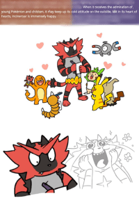 SCREEEEEEEEEEEEEE Dave: When it receives the admiration of.  young Pokémon and children, it may keep up its cold attitude on the outside, bbt in its heart of  hearts, Incineroar is immensely happy. SCREEEEEEEEEEEEEE Dave