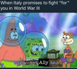 "Ally, World, and Italy: When Italy promises to fight ""for""  you in World War lII  Sorny i dont  sorvidont, Ally italian  italian Fool me once"