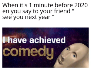 "I'm a comedian: When it's 1 minute before 2020  en you say to your friend ""  see you next year ""  have achieved  comedy I'm a comedian"