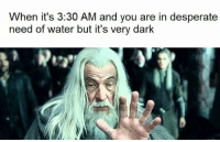 Desperate, Water, and Dank Memes: When it's 3:30 AM and you are in desperate  need of water but it's very dark