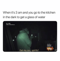 Ass, Water, and Eat My Ass: When it's 3 am and you go to the kitchen  in the dark to get a glass of water  ALL NEW  #GhostAdventures  ALL NEWN  EDNESDAY  ve  Eat my ass, spirits! Wylinnnn. 🤣
