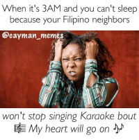 When it's 3AM and you can't sleep  because your Filipino neighbors  Cayman meme  won't stop singing Karaoke bout  BAE My heart will go on Like the titanic, I'm split up on whether to tell them to stfu and threaten them with RCIPS or join them because they prolly turning the fuck up! 😂😂😂 lmfao karaokenight caymanproblems