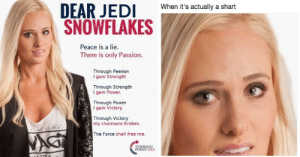 "Meme, Tumblr, and Blog: When it's actually a shart  SNOWFLAKES  Peace is a lie.  There is only Passion.  Through Passion  I gain Strength.  Through Strength  I gain Power  Through Power  gain Victory.  Through Victory  my chainsare Broken.  The Force shall free me. memehumor:  Tomi Lahren's ""Dear Liberal Snowflakes"" Tweet Has Officially Become A Hilarious Meme"