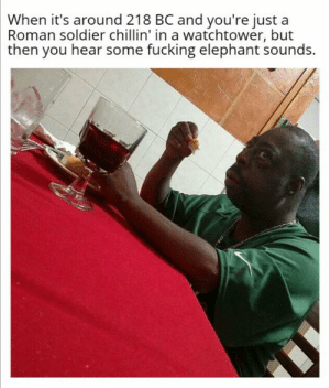 Fucking, Elephant, and History: When it's around 218 BC and you're just a  Roman soldier chillin' in a watchtower, but  then you hear some fucking elephant sounds.  233 Oh My Fucking Jupiter!