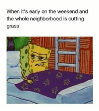 The Weekend, Weekend, and Grass: When it's early on the weekend and  the whole neighborhood is cutting  grass