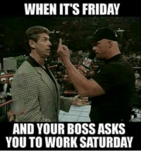 friday memes: WHEN IT'S FRIDAY  AND YOUR BOSS ASKS  YOU TO WORK SATURDAY