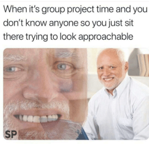 Time, Irl, and Me IRL: When it's group project time and you  don't know anyone so you just sit  there trying to look approachable  SP me irl