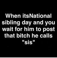 Bitch, Memes, and 🤖: When its National  sibling day and you  wait for him to post  that bitch he calls  SIS She ain't into taking pics 😝😝😁😁