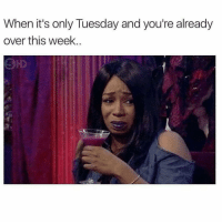 Me and @singlewomanprobs right now ( @singlewomanprobs ): When it's only Tuesday and you're already  over this week.. Me and @singlewomanprobs right now ( @singlewomanprobs )