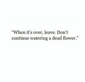"Flower, Dead, and Continue: ""When it's over, leave. Don't  continue watering a dead flower.""  5"