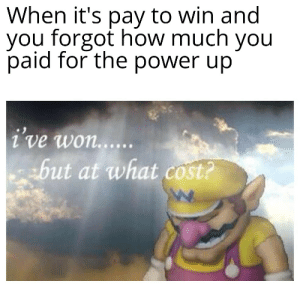 Money is valuable Wario: When it's pay to win and  you forgot how much you  paid for the power up  i've won......  but at what cost? Money is valuable Wario