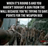 Memes, 🤖, and Mg42: WHEN IT'S ROUND 5AND YOU  HAVEN'T BOUGHT A GUN FROMTHE  WALL BECAUSE YOU'RE TRYING TO SAVE  POINTS FOR THE WEAPON BOX  EGAMINGbible  GIVIC I want that MG42