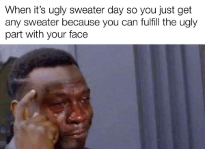 Meirl: When it's ugly sweater day so you just get  any sweater because you can fulfill the ugly  part with your face Meirl