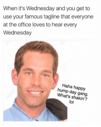 Feel free to use this neat little catchphrase today if you want to 🤗: When it's Wednesday and you get to  use your famous tagline that everyone  at the office loves to hear every  Wednesday  Haha happy  hump day gang  What's shakin'?  lol Feel free to use this neat little catchphrase today if you want to 🤗