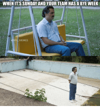 Accurate: WHEN ITSSUNDAYANDYOUR TEAM HASA BYE WEEK  @NFL MEMES Accurate