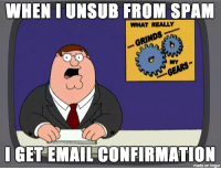 what grinds my inbox: WHEN IUNSUB FROM SPAM  WHAT REALLY  I GET EMAIL CONFIRMATION  made on imgur what grinds my inbox