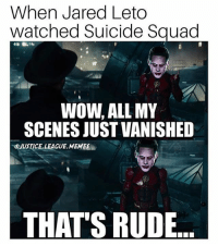 Batman, Joker, and Memes: When Jared Leto  watched Suicide Squad  WOW, ALL MY  SCENES JUST VANISHED  OJUSTICE.LEAGUE. MEMES  THAT'S RUDE They all just...disappeared😂🃏🃏 Via: @justice.league.memes joker suicidesquad jaredleto justiceleague batmanvsuperman batman brucewayne flash ezramiller theflash barryallen dccomics flezra jimgordon manofsteel wonderwoman