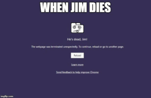 Page, Another, and Webpage: WHEN JIM DIES  He's dead, Jim!  The webpage was terminated unexpectedly. To continue, reload or go to another page.  Reload  Learn more dead jim