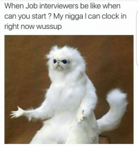 Be Like, Clock, and Funny: When Job interviewers be like when  can you start My nigga l can clock in  right now wussup Nochill😂👇🏾