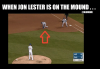 Mlb, Mars, and Been: WHEN JON LESTER IS ON THE MOUND  MLBMEME  LAD 0  CHC 2  0-1 Outs FACT: More people have been on Mars than on first base when Lester has thrown there.
