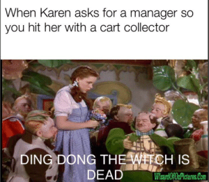 Kill Karen klub: When Karen asks for a manager so  you hit her with a cart collector  DING DONG THE WITCH IS  DEAD  WiardOfOzPictures.Com Kill Karen klub