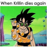 Memes, Krillin, and 🤖: When Krillin dies again Thank u @knightwing84 for sending this to me cux i died!!! 💀💀💀😂😂😂 saltbae salty dragonballs dbz krillin goku findoutonthenextepisodeofdragonballz dbzmemes factsasf everyotherepisode dead wastedwishes