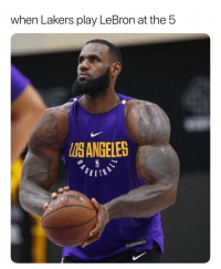 Basketball, Los Angeles Lakers, and Nba: when Lakers play LeBron at the5  ISANGELES The ball needs some air😂 nba nbamemes lebron lakers Via @thebruhreport