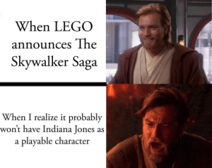 My first post here, go easy: When LEGO  announces The  Skywalker Saga  When I realize it probably  won't have Indiana Jones as  playable character  a My first post here, go easy