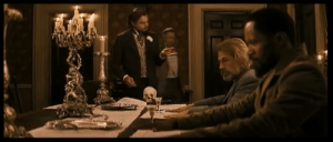 When Leonardo DiCaprio's character has a bleeding hand in Django Unchained (2012), the blood/cut is real - DiCaprio accidentally broke a glass when he slammed down his hand and continued in character despite the bleeding.: When Leonardo DiCaprio's character has a bleeding hand in Django Unchained (2012), the blood/cut is real - DiCaprio accidentally broke a glass when he slammed down his hand and continued in character despite the bleeding.