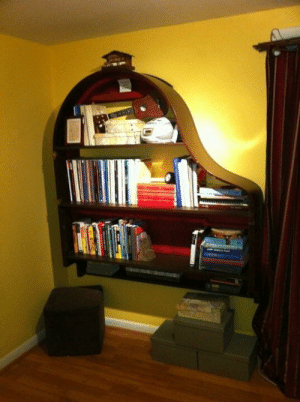 When life gives you a rotted soundboard, make a magnificent bookcase.