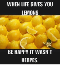 When Life Gives You Lemons: WHEN LIFE GIVES YOU  LEMONS  BE HAPPY IT WASN'T  HERPES