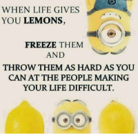 When Life Gives You Lemons: WHEN LIFE GIVES  YOU LEMONS,  FREEZE THEM  AND  THROW THEM AS HARD AS YOU  CAN AT THE PEOPLE MAKING  YOUR LIFE DIFFICULT.