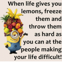 When Life Gives You Lemons: When life gives you  lemons, freeze  them and  throw them  as hard as  you can at the  people making  your life difficult!
